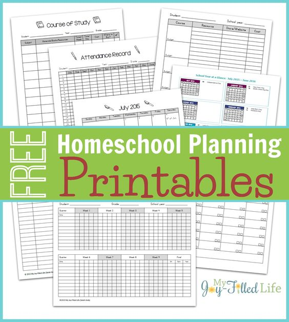 Homeschool Planning Resources  Free Printable Planning Pages