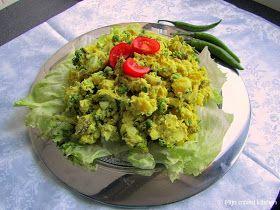 Mijn mixed kitchen: Olivieh (Perzische aardappel/kipsalade) 6 middelgrote aardappels 1 kipfilet 150 gram (diepvries)doperwten 3 eieren 6 augurken 3 bosuitjes 1 handvol platte peterselie (en/of dille, koriander) 3 eetlepels Turkse yoghurt 1 eetlepel mayonaise 3 theelepels kerrie (optioneel) zout, peper, citroensap naar smaak