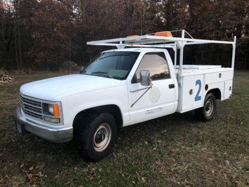 1989 Chevrolet C K Pickup 3500 White Work Truck Old Trucks For