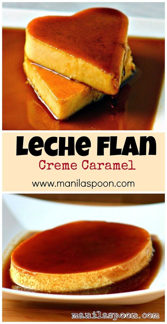 Velvety smooth, sweet and creamy-licious LECHE FLAN or crème caramel. Easy, tried and tested recipe for any occasion and perfect for Valentine's Day celebration! | manilaspoon.com