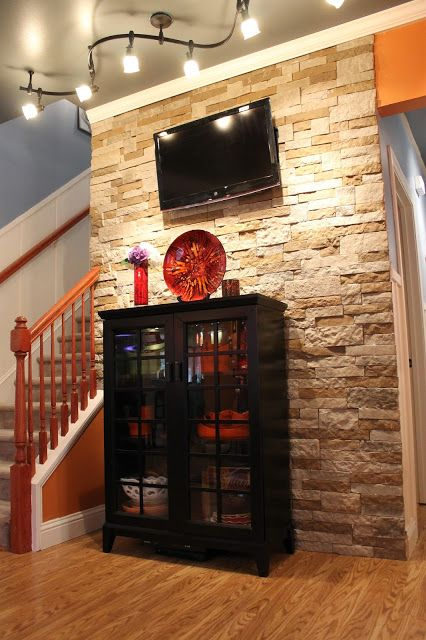 Diy stone accent wall fireplaces track and living rooms - Stone accent wall living room ...