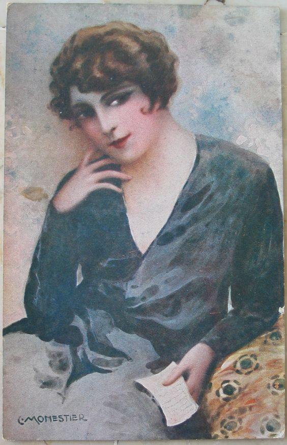 1919 Figura opera del cartellonista C. Monestier  serie n° 872 V. revis. Stampa N.3552 IICI Copryght prod. Artist. riservata cartolina con francobollo Italia uno da 5 e unod a 10 cent.