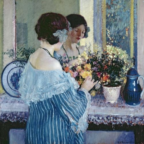 """Girl in Blue Arranging Flowers""  Author: Frederick Carl Frieseke (American, 1874–1939)Medium: Oil on canvasLocation: Museum of Fine Arts, Houston"