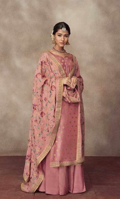 Siya Siyafashion Partywear Pink Jacquard Silk Palazzo Suit Dupatta In 2020 Indian Outfits Gharara Designs Indian Designer Suits