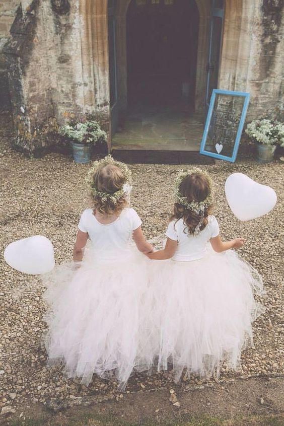 Blush Pink - Flower Girl Tulle Skirt in Light Pink and Ivory:
