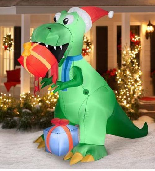 Funny Christmas Inflatable Yard Decorations: Inflatable Christmas Prop 7.5' T-Rex Airblown Outdoor Yard