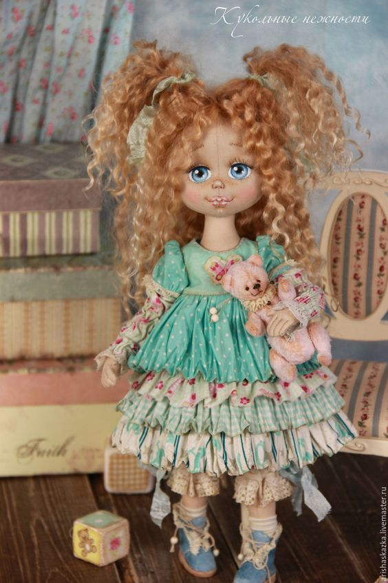 Купить Маня . Кукла авторская текстильная - розовый, белый, шебби, шебби-шик, шебби шик: