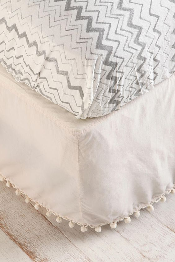 ball fringe bed skirt - Urban Outfitters