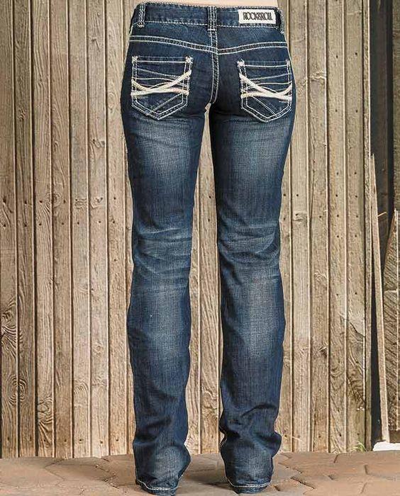 Rock & Roll Cowgirl Medium Wash Original Low Rise Boot Cut Jeans ...