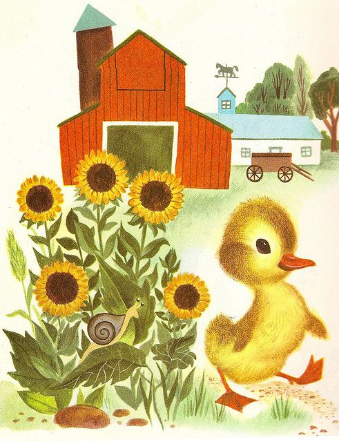 """""""The Fuzzy Duckling"""" by Jane Werner; Illustrations by Alice and Martin Provensen. 1949."""