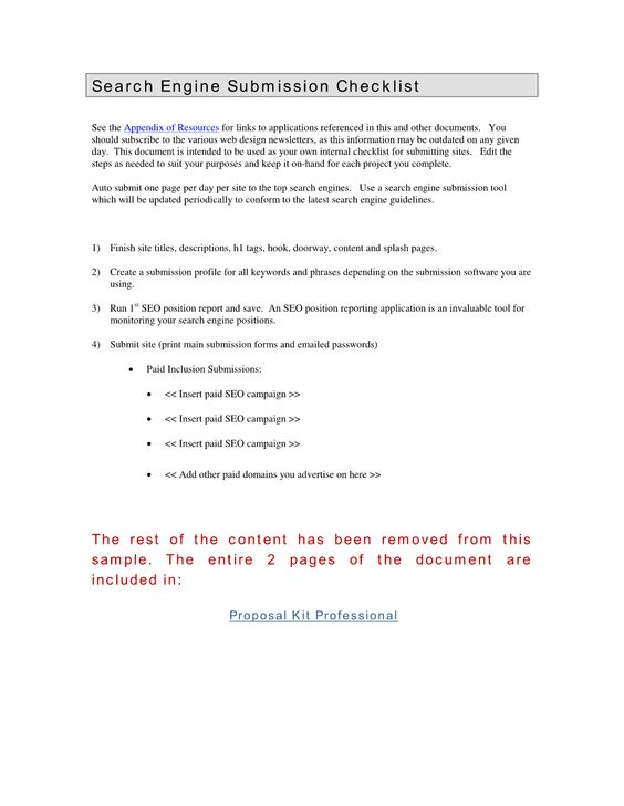 Search Engine Submissions  This Document Is Intended For Internal