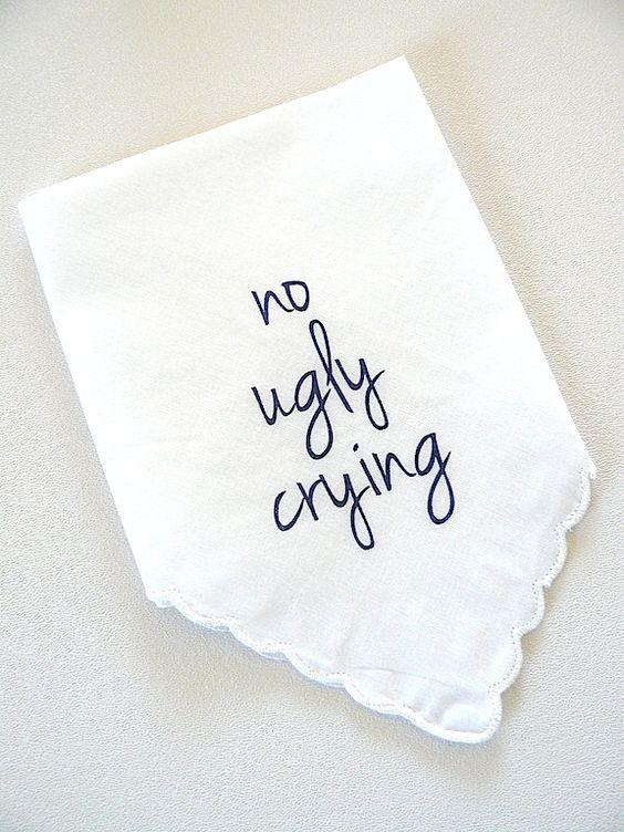 NAVY- no ugly crying white Scalloped screen print handkerchief bridesmaid best…
