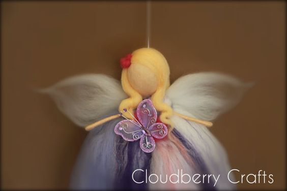 Needle Felted Angel, Guardian Angel, Purple,Lavender, Fairy, Fairie, Waldorf, White, Purple, Pink, Sparkly, Wool,Butterfly