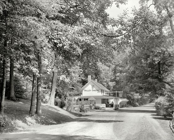 Valley Green Inn along the Wissahickon Creek inside the city of Philadelphia, from 1909.  It still looks like this, and it's still a restaurant.