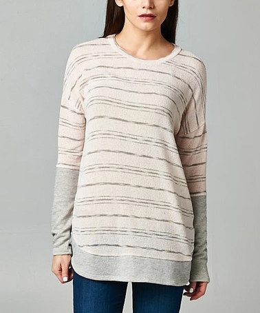 Another great find on #zulily! Light Pink & Gray Stripe Tunic #zulilyfinds