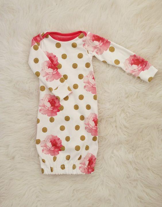 newborn gown baby girl gown newborn girl by LittleBeansBabyShop