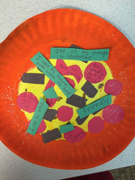 "Self esteem pizza is used for a child to write down their talents or strengths down on the pizza ""toppings."" This activity is fun for children and allows them to express themselves, find out what talents and/or strengths they have."