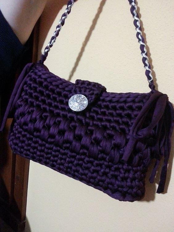 Bolso de trapillo trapillo pinterest bolsos trapillo for Bolso crochet trapillo