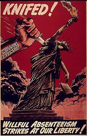 Knifed ! ... US Patriotism Poster c. 1942-1945 --- VOTE in 2016~! Force the Anarchist to Drop the Knife!
