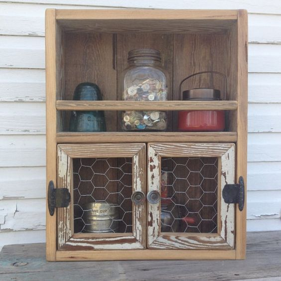 Reclaimed wood cabinet chicken wire decor kitchen shelf for Chicken wire kitchen cabinets