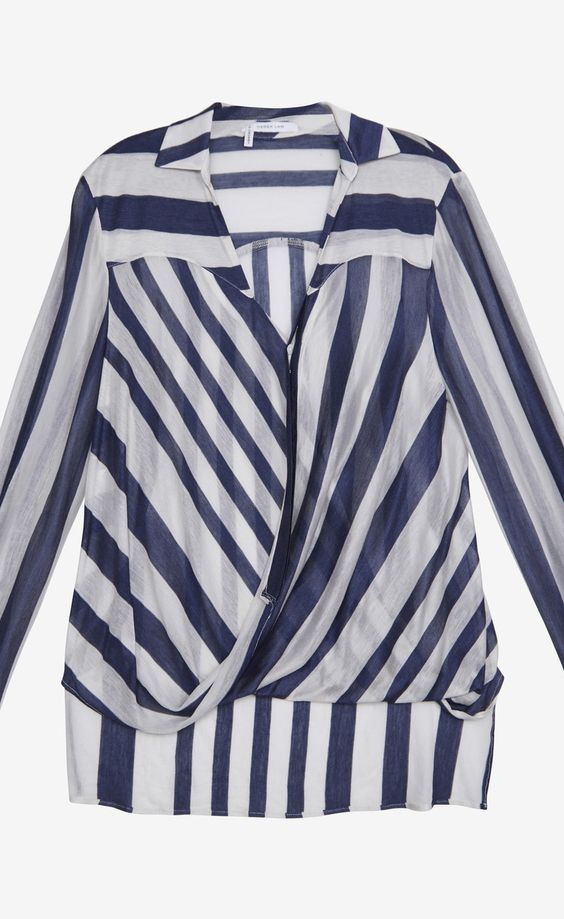 10 Crosby Derek Lam Blue and White Striped Surplice Blouse