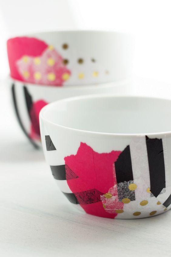 Diy modge podge tissue paper bowls make pinterest for Diy paper bowl