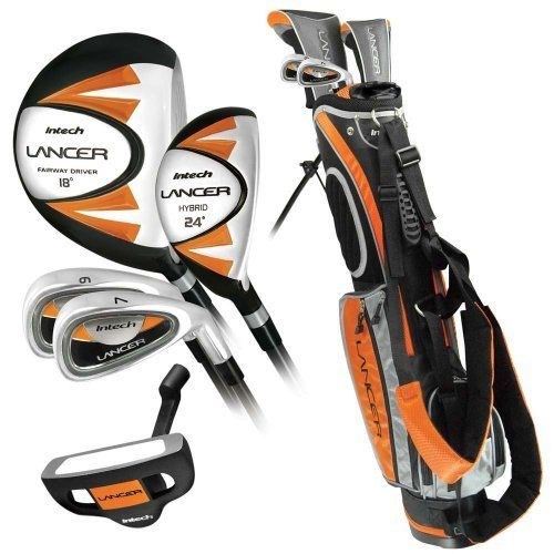 Good Deal Intech Lancer Junior Golf Set Left Handed Age 8 To 12 17 5 Degree Driver 4 5 Hybrid Iron Wide Sole Junior Golf Clubs Golf Set Best Golf Clubs