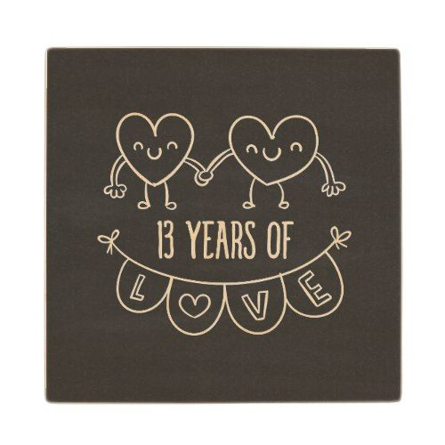 13th Anniversary Gift Chalk Hearts Wooden Coaster Zazzle Com