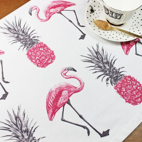 Flamingos and Pineapples Tea Towel by yvonneellen on Etsy: