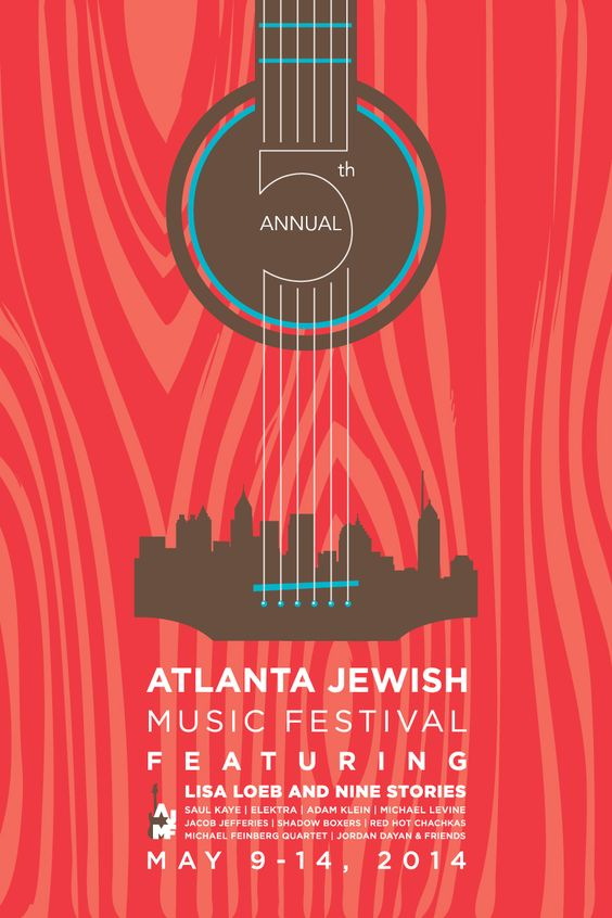 A music festival poster that combines both guitar and city skyline imagery. Could be a good idea
