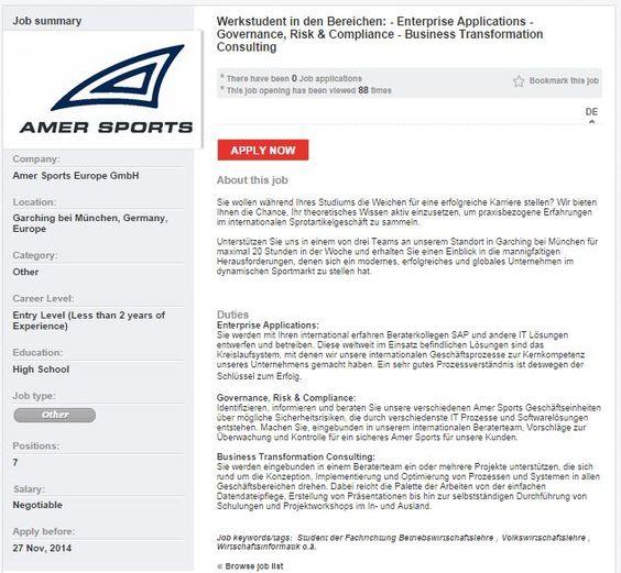 Amer Sports Werkstudent