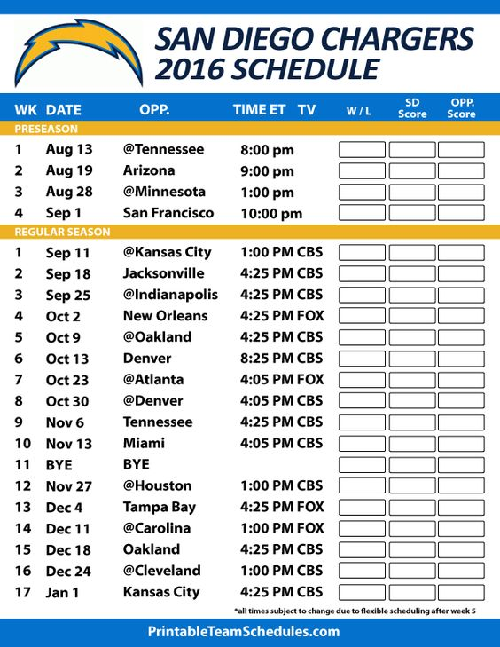 San Diego Chargers Football Schedule. Print Schedule Here - http://printableteamschedules.com/NFL/sandiegochargersschedule.php