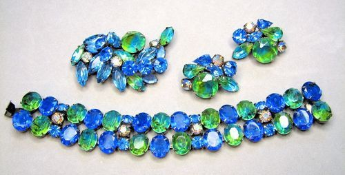 Amazing Kramer Blue Green Watermelon Rhinestone Parure    http://stores.ebay.com/Caybeth-Collectibles?_trksid=p2047675.l2563