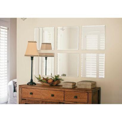 frameless bevelled mirror tiles from target at only 13. Black Bedroom Furniture Sets. Home Design Ideas