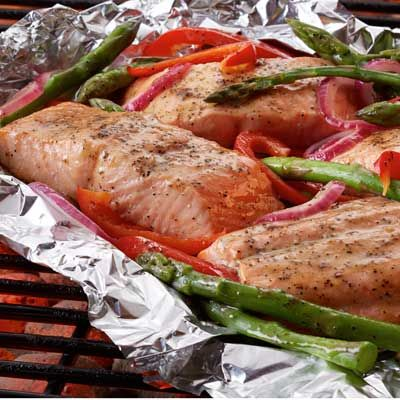 Grilled Salmon & Asparagus Packets | Recipe | Grilled Salmon, Salmon ...