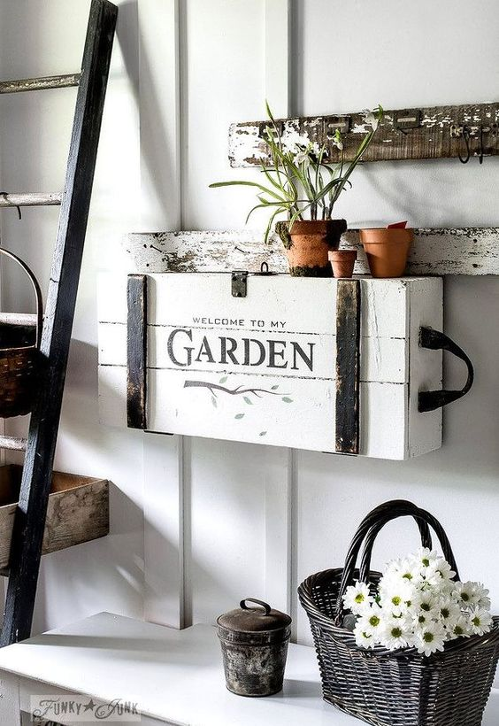 The cutest little DIY garden themed stenciled and painted crate with a top secret mission.