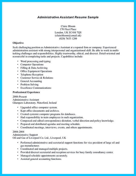 In writing entry level administrative assistant resume, you need - administrative assistant duties