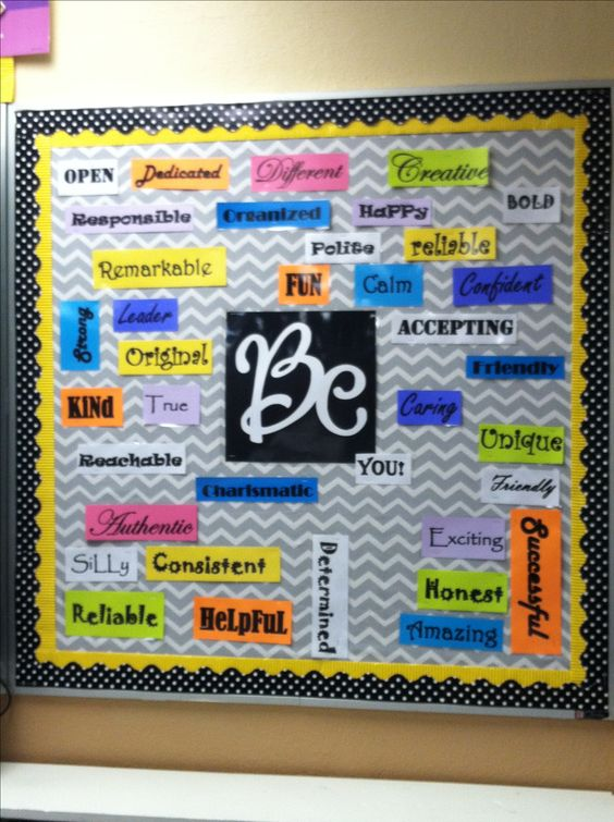 Middle school Bulletin board  Cool first day idea  Have students think of the adjectives!
