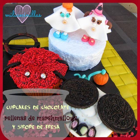 Cupcakes de chocolate rellenas de marshmallows y sirope de Fresa Sin Lactosa