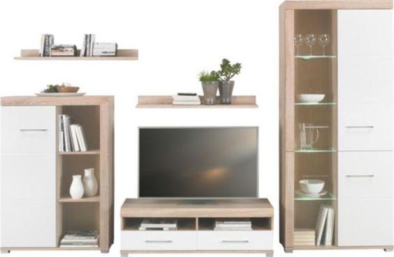 Mit dieser Wohnwand schaffen Sie echtes Wohlfühl-Ambiente im Wohnzimmer: Die Harmonie aus den Farben Weiß und Sonoma-Eiche bringt einen modernen Touch ins Haus, der Ihnen auf Anhieb gefallen wird. Setzen Sie Ihren Fernseher auf dem ca. 120 cm breiten TV-Lowboard perfekt in Szene und genießen Sie auf einer bequemen Höhe von ca. 38 cm Ihre Lieblingssendungen! In den beiden Schubladen bewahren Sie spielend leichte Ihre Accessoires auf. 2 Vitrinen mit unterschiedlichen Höhen von ca. 125 cm
