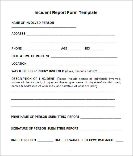 Incident Report Sample Incident Report Template Pinterest - incident report template