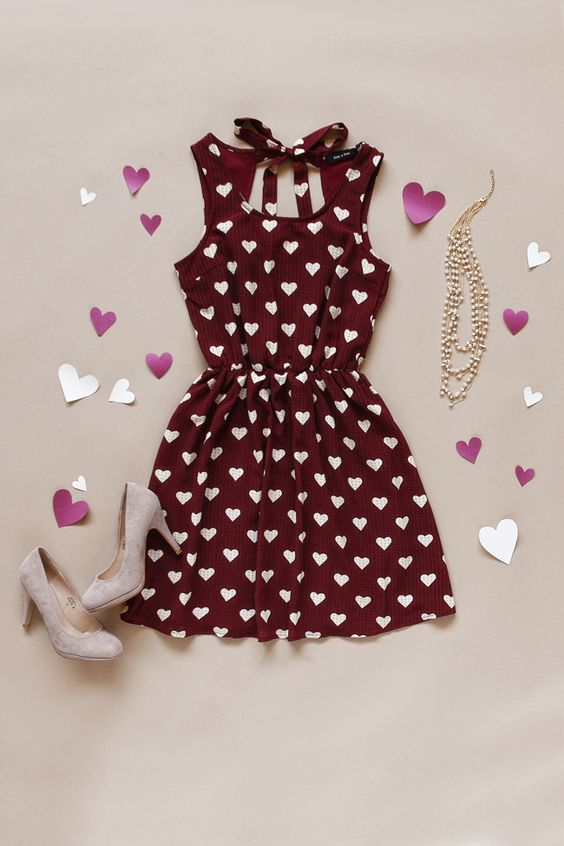 A delightful heart print makes this the perfect Valentine's Day dress!: