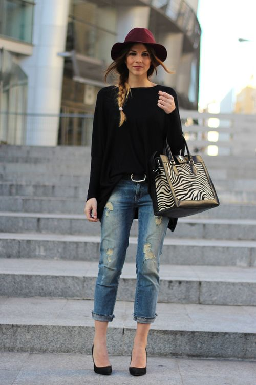 with a white or camel leather bag instead...: