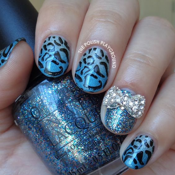 Green and Blue Holo Gradient with Leopard Print Stamping Nail Art