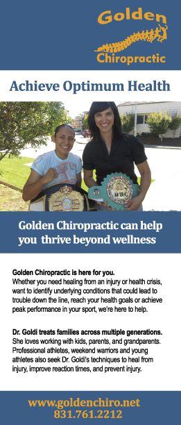 Golden Chiropractic rack card front
