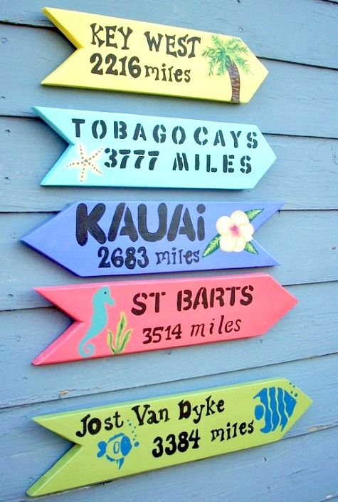 Custom Directional Arrow Signs that Point to your Favorite Beach Destination: http://www.completely-coastal.com/2015/06/beach-destination-directional-arrow-sign.html
