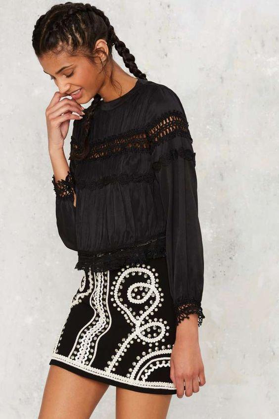 Clemence Crochet Blouse - Black - Clothes | Blouses