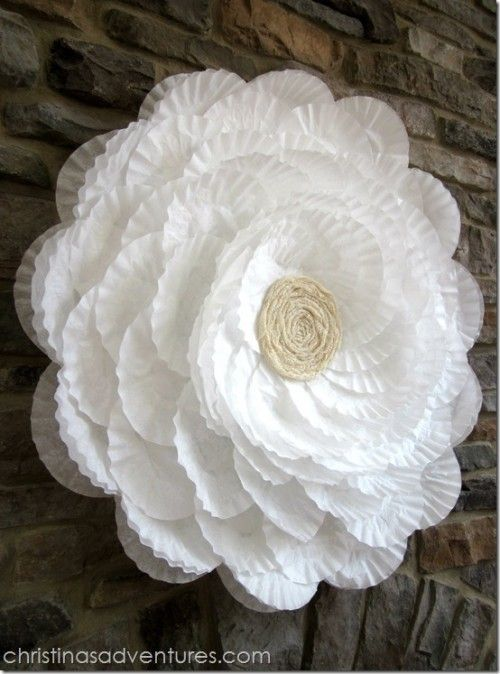 Coffee Filter Flower Decoration ~  This coffee filter flower decoration was used for a bridal shower  using a hoola hoop (it's huge), but it can be used for regular decoration and it's just plain gorgeous!