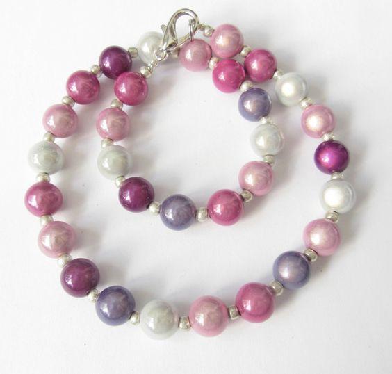 Ketten kurz - Kette Miracle-Kette rosa-pink-lila-weiß-silber - ein Designerstück…