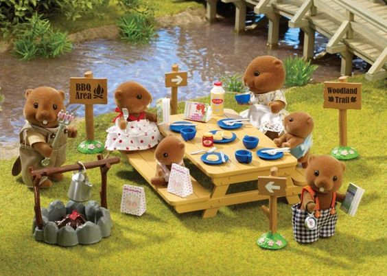 Sylvanian Families woodland picnic set and the Waters Beaver Family.: